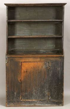 Blue Painted Pine Open Cupboard, probably New England, late 18th century