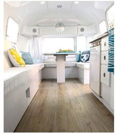 Great flooring idea for a Avion Travel Trailer restoration... Works perfectly with a white decoration.