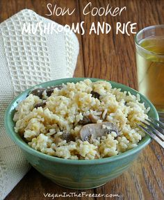 Slow Cooker Mushrooms and Rice is a deep and rich recipe and it is also versatile because it is a side dish or main entree.