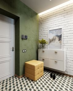 Modern appartmen with colours accents on Behance Painted Brick Walls, White Brick Walls, Home Entrance Decor, Entryway Decor, Country Interior Design, Interior Styling, Small Room Bedroom, Room Decor Bedroom, Home Decor Kitchen