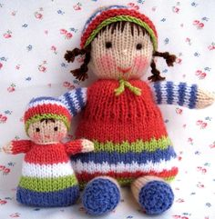 Lindy Lou and little doll PDF knitting pattern от dollytime Knitted Doll Patterns, Knitted Dolls, Knitting Patterns Free, Free Knitting, Loom Patterns, Crochet Dolls, Crochet Yarn, Knitting Yarn, Head To Toe