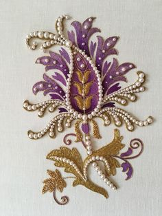 Purple flower. Silk shading, goldwork, pearls. Fits A4. Embroidery by Larissa Borodich
