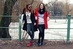 Look saia preta, moletom Adidas Originals, casaco vermelho, Berlim, neve, inverno, Maddu Magalhães.