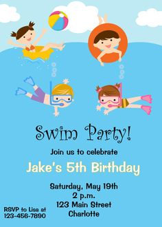 Pool party birthday invitation -- pool party - pool toys - swimming party - swim party. $10.00, via Etsy.