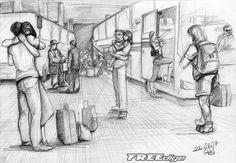Fd imgesel 64 Otogar by FREEdige on DeviantArt – Zeichnung Human Figure Sketches, Human Figure Drawing, Figure Sketching, Realistic Pencil Drawings, Art Drawings Sketches, Pencil Art Drawings, Perspective Drawing Lessons, Perspective Sketch, Sketches Of People