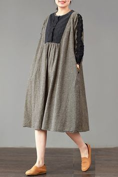 Material: Cotton Fabric: Fabric has no stretchSeason: Spring, Summer, AutumnType: DressPattern Type: PlaidSleeve Length: Long SleeveColor: Blue, CoffeeDresses Length: Mid-lengthStyle: Casual, LiterarySilhouette: DressSize: L Dress Length: 106 cm, Shoulder Breadth: 42 cm , Bust: 116 cm, Sleeve Length: 47 cm