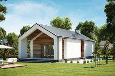 Projekt domu parterowego Stroiczka DM-6622 o pow. 63,28 m2 z dachem dwuspadowym, z tarasem, sprawdź! Cheap House Plans, Small Modern House Plans, Modern Barn House, Barn House Plans, Best Exterior House Paint, Dream House Exterior, Modern Farmhouse Exterior, Farmhouse Design, House Roof