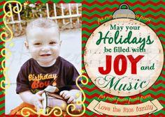 Music Ornament Christmas Card, Family Photo Holiday Card Printable DIY