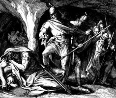 """David Cuts the Skirt of Saul's Robe. - 1st Samuel 24:4, """"And the men of David said unto him, Behold the day of which the LORD said unto thee, Behold, I will deliver thine enemy into thine hand, that thou mayest do to him as it shall seem good unto thee. Then David arose, and cut off the skirt of Saul's robe privily."""""""