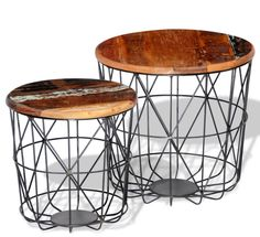 Industrial Retro Tables 2 Reclaikmed Wooden Round Coffee Table Steel Bottom Mesh