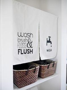 カフェカーテン 手作り のれん ステンシル リメイク Door Shades, Noren Curtains, Wash Brush, Curtain Designs, Washroom, Web Design, Display, Interior, Projects