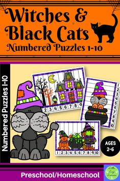 Do you have children in your class who are at different stages of learning? Are you teaching one theme that you want all of your kids to have access to in math? This Witches Numbers Preschool, Fall Preschool, Preschool Activities, Number Activities, Halloween Math, Halloween Witches, Morning Activities, Cat Activity, Number Puzzles
