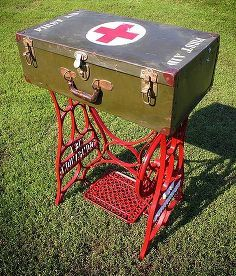 http://www.hometalk.com/b/7043514/sewing-table-makeovers?se=fol_new-20150331&utm_medium=email&utm_source=fol_new&date=20150331  repurposed wwii military first aid storage suitcase table w sewing machine base, repurposing upcycling, Repurposed WWII Military First Aid Storage Suitcase Table w Sewing Machine Base Yardsticks