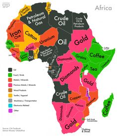 World Commodities Map: Africa Sums up why there is a lot of conflict, so many natural resources. The exploiter's view of Africa. World Geography, Geography Map, Geography Quotes, Geography Revision, Geography Worksheets, Ap Human Geography, Geography Activities, Geography Lessons, Black History Facts