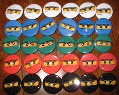 30 Pin Back Button Party Favor  Ninjago Faces Birthday Party 1.25 inch Buttons. $15.00, via Etsy.