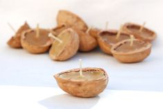 Walnut shell candles@Danita Berg of Green Baboon Designs