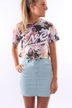 All About Eve - Girl Just Wanna Have Fun Crop Tee Loving this printed floral tee!!  With a large Eve symbol printed at the front. $49.95 SHOP: http://www.jeanjail.com.au/ladies/all-about-eve-girl-just-wanna-have-fun-crop-tee.html