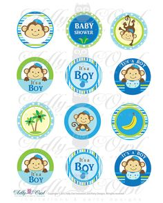 Its a Boy Monkeys  Cupcake Toppers or Favor by adlyowlinvitations, $3.50