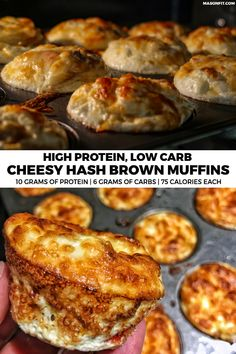 only 75 calories, 6 grams of carbs, and 10 grams of protein, these healthy breakfast muffins are sure to be a hit for meal prep or a weekend brunch! Healthy Breakfast Muffins, High Protein Breakfast, High Protein Low Carb, High Protein Recipes, Healthy Protein, Protein Foods, Best Breakfast, Low Carb Recipes, Breakfast Hash