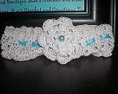 Something Blue Crochet Vintage Lace Wedding Garter, White Wedding Garter, Custom Order for ALL sizes, Plus Size Garter Available. $25.00, via Etsy.