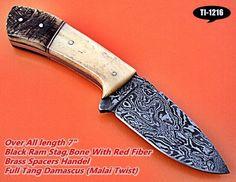 CUSTOM HANDMADE DAMASCUS SKINNER KNIFE,BONE,BLACK STAG  HORN HANDLE. #SteelCollection