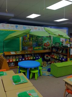 This 2nd grade classroom library is furnished almost entirely from Ikea and Target.