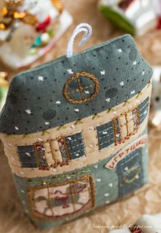 Cross stitch, embroidery and patchwork house as ornament .... I wish I could make such a wonderful wonderful thing