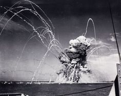 Maybe WW2?        Tags: black and white, cloud, explosion, photography, smoke, vintage, water