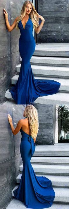 Mermaid V-Neck Long Royal Blue Satin Prom Dress Party Dress M3746