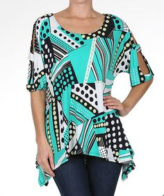 Look what I found on #zulily! Teal & White Polka Dot Cutout Top #zulilyfinds