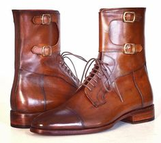 Handmade Men Brown High Ankle Double Monk Strap Boots, Men Ankle Leather Boots sold by LeathersPlanet. Shop more products from LeathersPlanet on Storenvy, the home of independent small businesses all over the world. Mens High Boots, High Ankle Boots, Leather Ankle Boots, Tan Leather, Rugged Style, Women's Shoes, Shoe Boots, Men's Boots, Shoes Men