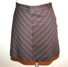 BCBG Max Azria Brown Pinstripe Wool Blend Mini Skirt