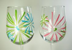 Set of 2 Hand Painted Spring / Summer Wine Glasses Colorburst Design / Fireworks - Turquoise, green, pink and white