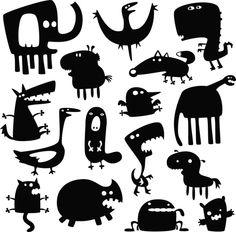 卡通动物剪影06—矢量素材-动物-矢量