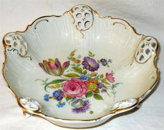 Antique 7.5 Rosenthal Porcelain Floral Bowl by ednasvintagecloset