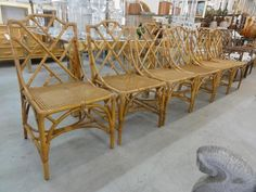 Set of 6 Deutch Rattan Chippendale Side Chairs with cane seats made in Italy. Side Chairs, Dining Chairs, Palm Beach Regency, Outdoor Furniture Sets, Outdoor Decor, Rattan, Naples, Inspiration, Inspired