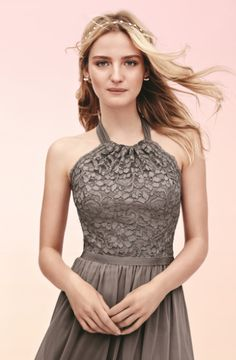 Short Halter Lace and Mesh Bridesmaid Dress at @DavidsBridal