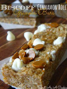 No Bake Biscoff Cinnamon Roll Granola Bars | from www.sweetasacookie.com #biscoff #cinnamon #granolabars