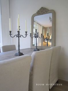 lovely dining room,  antique mirror