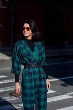 NYFW day three utility suit in plaid (by Weili Zheng from Frankie Shop NYC). #nyfw #streetstyle #palid #jumpsuit #utility #winterlayering #ShopStyle #ssCollective #MyShopStyle #ootd #mylook #lookoftheday #currentlywearing #getthelook #wearitloveit #shopthelook #todaysdetails