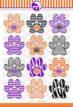 Paw Print SVG Cut Files Monogram Frames for Vinyl by MoonMinted