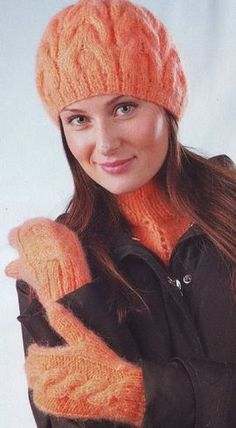 Берет, варежки и манишка спицами Mittens, Knitted Hats, Winter Hats, Beanie, Cap, Wool, Knitting, Pattern, Socks