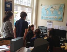 Students from Gymnasium Novum, Voorburg - Cid, Ingemarie, Rosanna and Karina - pictured here with our volunteer Jackie giving them an overview of her social media work. Centre, Archive, Students, Social Media, Pictures, Photos, Social Networks, Social Media Tips, Grimm
