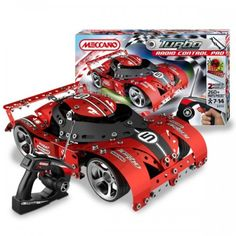 Meccano - Turbo Radio Control Pro: Speed your way into the winner's circle when you build this amazing remote controlled turbo red race car. This kit is the ultimate in Meccano race kits; you can build the hottest race car on the circuit or a tow truck to haul the wrecks in. Many features including lights, realistic sounds, more than 210 parts and comes with the remote control and all of the tools you need to build it! #alltotstreasures #meccano #meccanoracecar #remotecontrolcar