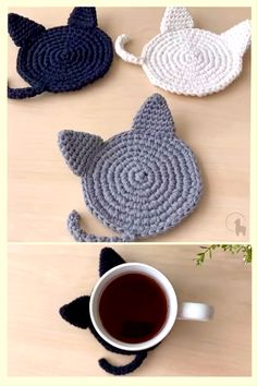 Crochet Coaster Pattern, Easy Crochet Patterns, Crochet Patterns Amigurumi, Knitting Patterns, Crochet Ideas, Crochet Home, Crochet Gifts, Cute Crochet, Hand Crochet