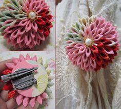 katumi made *つまみ細工の簪(かんざし)髪飾り、つまみ細工のshop*つまみ細工のブローチ大玉下がり付き