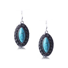Retro Style Silver Plated Turquoise Earrings Charms