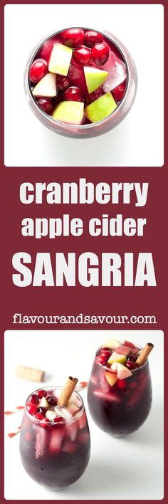 Here's an easy recipe for Cranberry Apple Cider Sangria. Flavoured with pure cranberry juice and soft apple cider, it's a perfect drink for fall and winter! Pure Cranberry Juice, Cranberry Sangria, Apple Cider Sangria, Cranberry Recipes, Sangria Recipes, Holiday Recipes, Cocktail Recipes, Drink Recipes, Keto Cocktails