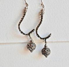 Vintage Dangle Earrings Ethnic Tribal Style Silver Dangle