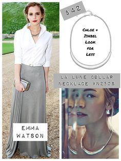 Get Emma Watson's sleek style with this fab La Lune silver collar necklace (just $42!) from the new Moroccan Summer C + I collection. Buy here www.chloeandisabel.com/boutique/christygustin